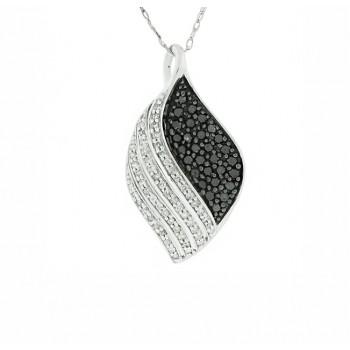 Black and White Diamond Swirl Pendant 27777