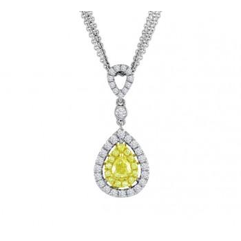 Fancy Yellow and White Diamond Halo Pendant 23981