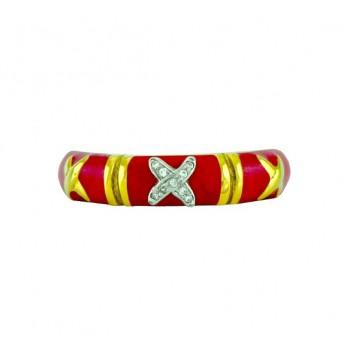 Hidalgo Enamel and Diamond X Ring RA206CORAL