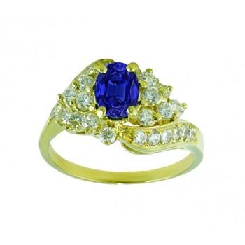 Oval Sapphire and Swirl Diamond Ring 22697