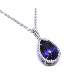 Pear Shape Tanzanite and Diamond Halo Pendant 28081