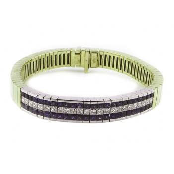 Sapphire and Princess Cut Diamond Bracelet 14243