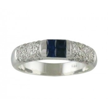Square Blue Sapphire and Diamond Ring 15480