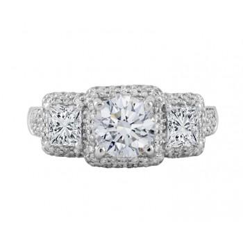 Three-Stone Diamond Halo Engagement Ring Top 24670