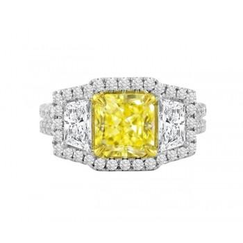 Three Stone Natural Yellow and White Diamond Ring Top 25980-25978
