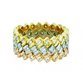Tricolor Diamond Stacked Ring 23139