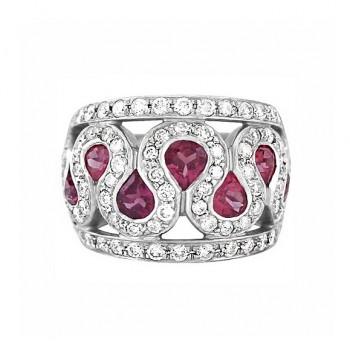 Wide Pink Tourmaline and Diamond Ring Top 22620