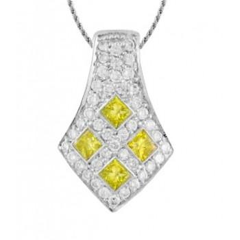Yellow and White Diamond Pendant 10097